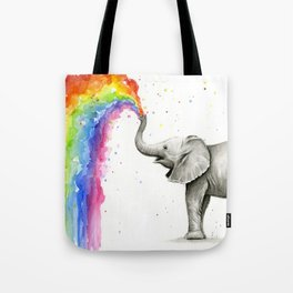 Baby Elephant Spraying Rainbow Umhängetasche