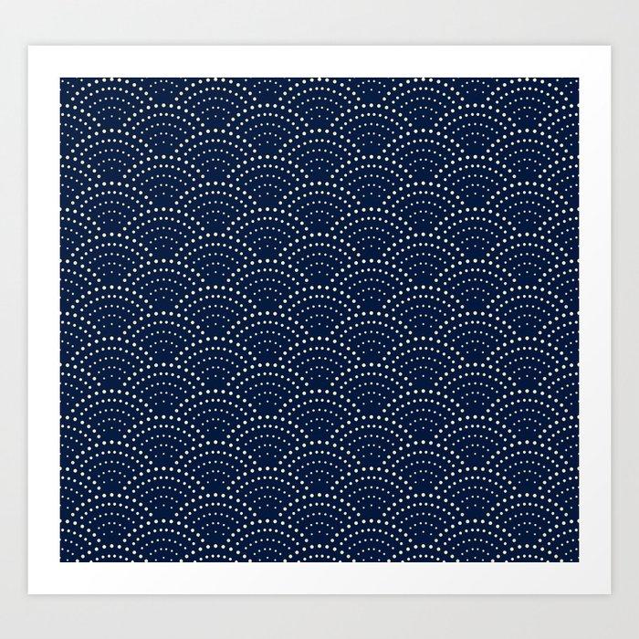 Japanese Blue Wave Seigaiha Indigo Super Moon Pattern Kunstdrucke