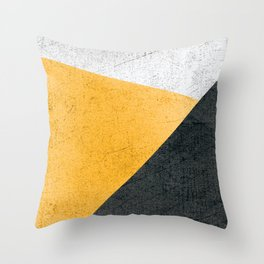 Modern Yellow & Black Geometric Throw Pillow