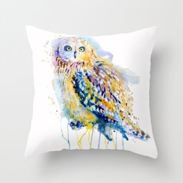Short Eared Owl Watercolor painting Throw Pillow