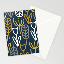 Cheerful Garden Minimalist Pattern in Light Mustard, Dark Mustard, White, Gray, and Navy Blue Stationery Cards