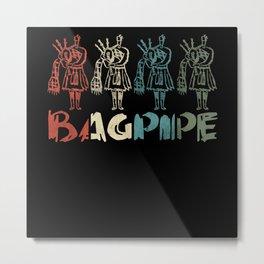 Retro Bagpipe Scottish National Tartan Day Metal Print
