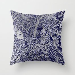 Stylish navy blue silver bohemian aztec feathers Throw Pillow