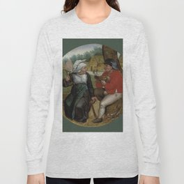 """Pieter Brueghel II (The Younger) """"A peasant holding a hen and a peasant woman holding a spindle"""" Long Sleeve T-shirt"""