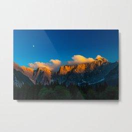 Amazing sunset at lago Di Fusine, Italy Metal Print