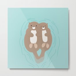 Otters Metal Print