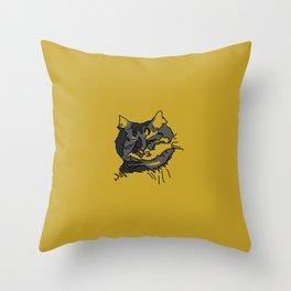 Mustard Sleeping Cat Throw Pillow