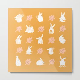 Bunny leaf pattern (yellow) Metal Print