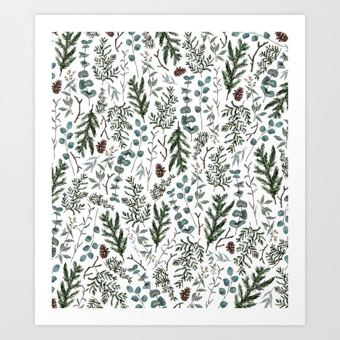Pine and Eucalyptus Greenery Kunstdrucke