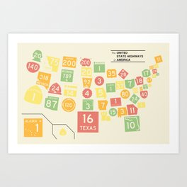 United State Highways of America - Classic Map Colors Art Print