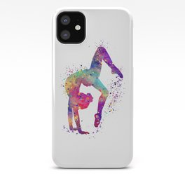 Girl Gymnastics Tumbling Watercolor iPhone Case