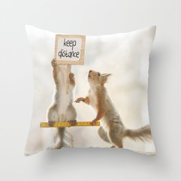 squirrels keeping distance Throw Pillow