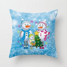 Family snowmans Throw Pillow