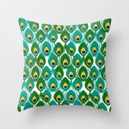 Abstract Peacock Pattern Throw Pillow