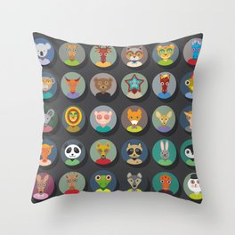 animals faces circle icons set in Trendy Flat Style. zoo Throw Pillow