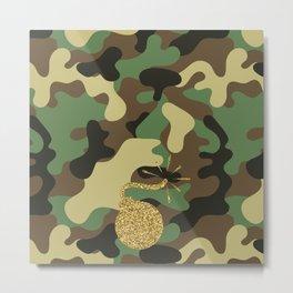 BOMB - CAMO & GOLD GLITTER Metal Print