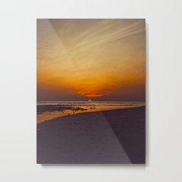 Vintage Sepia Orange Rustic Sunset Over The Ocean Metal Print