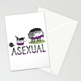 Cute asexual wooly sheep cartoon vector illustration motif set. Stationery Cards