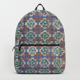 Floral tile Green Violet Backpack