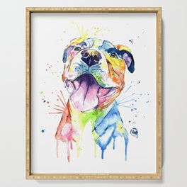 Pit Bull, Pitbull Watercolor Painting - The Softer Side Serving Tray