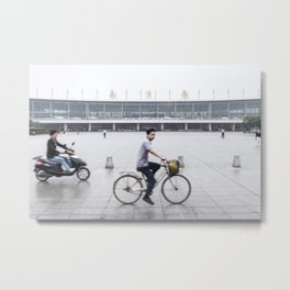 Rainy Day Cyclist at Nanjing Railway Station | China Metal Print
