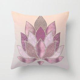 Elegant Glamorous Pink Rose Gold Lotus Flower Throw Pillow