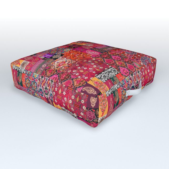 N98 - Traditional Heritage Boho Oriental Moroccan Collage Style. Outdoor Floor Cushion