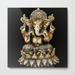 Ganesha Gold Statue Metal Print