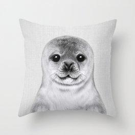 Baby Seal - Black & White Throw Pillow