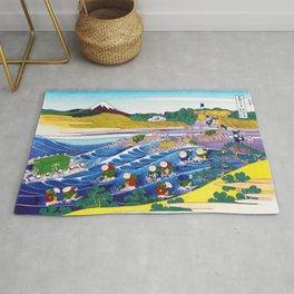 Mount Fuji, Tokaido Kanaya no Fuji, Fuji at Kanaya on the Tokaido Road, Restored Antique Ukiyo-e Color Japanese Woodblock Print Rug