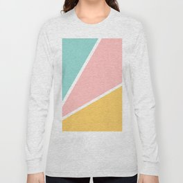 Tropical summer pastel pink turquoise yellow color block geometric pattern Long Sleeve T-shirt