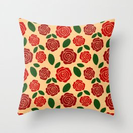 Vintage Style Red Rose & Green Leaf Seamless Pattern Throw Pillow