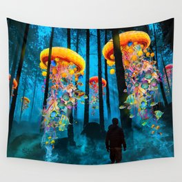 Electric Jellyfish Worlds in a New Blue Forest Wall Tapestry