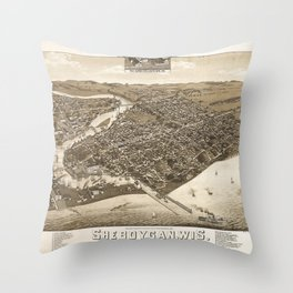 Aerial View of Sheboygan, Wisconsin (1885) Throw Pillow