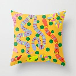Polka Dot Snake Party Throw Pillow