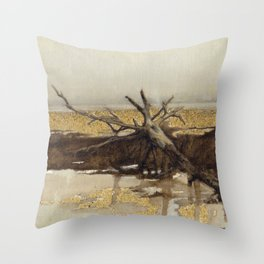Sandy Landscape Nature Oil Painting Brown Beige Grey Yellow and Tree Abstract Realism Throw Pillow