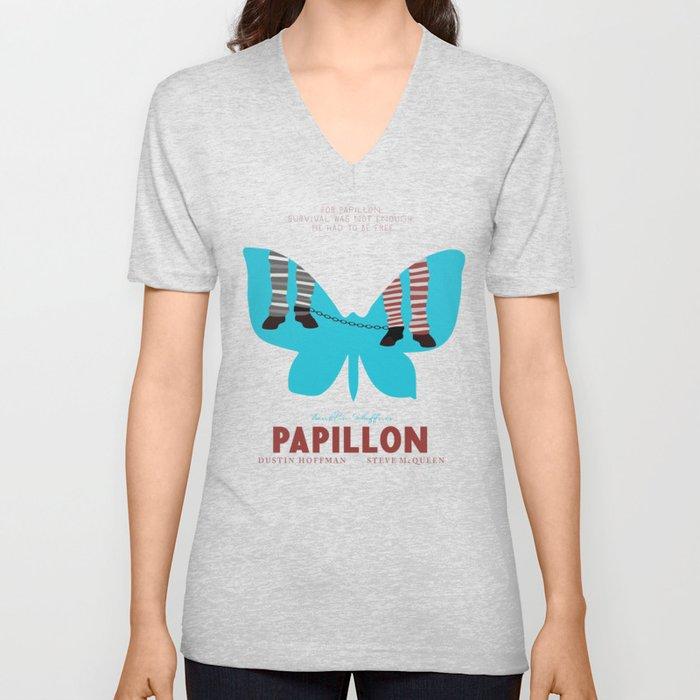Papillon, Steve McQueen vintage movie poster, retrò playbill, Dustin Hoffman, hollywood film Unisex V-Neck