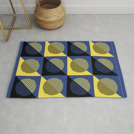 Geometric Eclipse in Blue Yellow & Black Rug