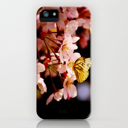 Yellow Butterfly Kissing Pink Cherry Blossom iPhone Case