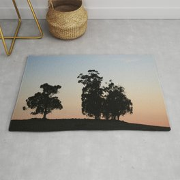 Eucalyptus trees at sunset Rug