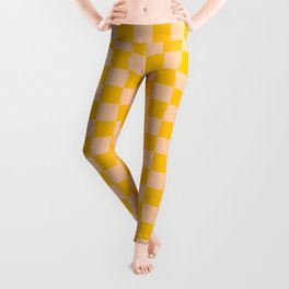Deep Peach Orange and Amber Orange Checkerboard Leggings