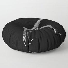 9466s-DJA BW Zebra Striped Nude Woman Yoga Pose Floor Pillow