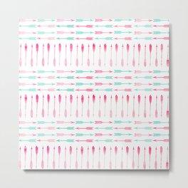 Trendy pink teal watercolor arrows pattern Metal Print