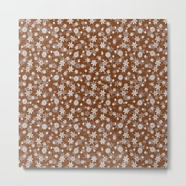 Festive Dark Toffee Brown and White Christmas Holiday Snowflakes Metal Print