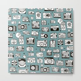 Smile action toy camera vintage photography pattern Metal Print