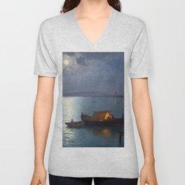 Coastal Marine Seascape Moonlit Boat and Lighthouse landscape painting by Guillermo Gomez Gil Unisex V-Neck