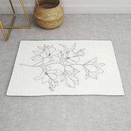 Minimal Line Art Magnolia Flowers Rug
