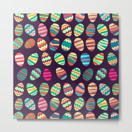 Pattern with colorful easter eggs Metal Print