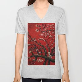 Almond Tree in Blossom - Red Motif by Vincent van Gogh Unisex V-Neck