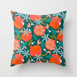 Summer Pomegranate #illustration #pattern Throw Pillow